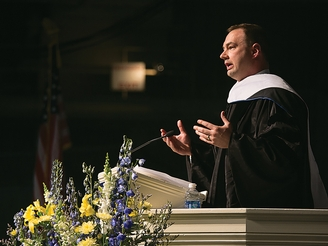 Thomas Tull '92 addresses Hamilton's newest graduates at commencement exercises in May.