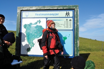 Barbara Tewksbury, the Upson Chair for Public Discourse and professor of geosciences, during a July talk with students and researchers in southern Heimaey, part of the Vestmannaeyjar Islands off Iceland.