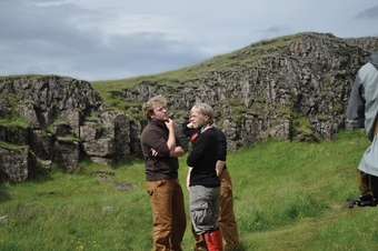 Barb Tewksbury confers with Ken Christle, her son-in-law, at Dverghamrar, an unusual geologic formation in southern Iceland.
