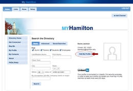 "To join the Hamilton Network, click the ""Edit My Profile"" on the directory home screen of My Hamilton"
