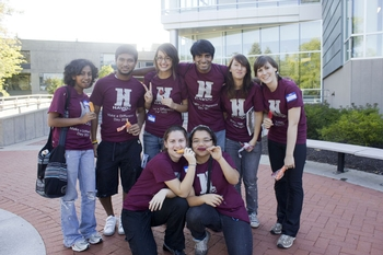 """Team Purple,"" one of Hamilton's student volunteer groups that participated in HAVOC's Make a Difference Day."