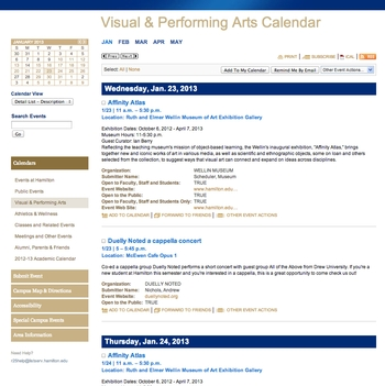 Visual & Performing Arts Calendar - Detail View