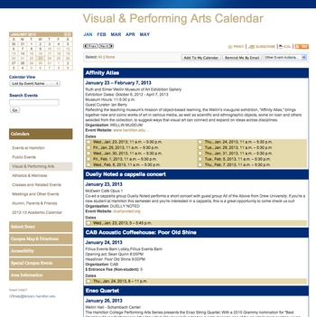 Visual & Performing Arts Calendar - List by Event Name