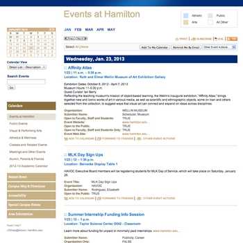 Events at Hamilton Calendar - Detail List, includes full descriptions