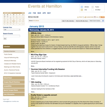 Events at Hamilton Calendar - Detail List
