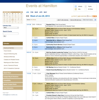 Events at Hamilton Calendar - Week View