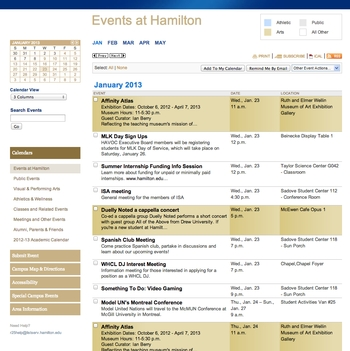 Events at Hamilton Calendar - 3-Column View