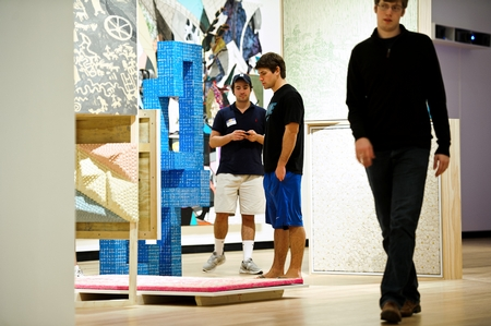 Students exploring the new Ruth and Elmer Wellin Museum of Art (PHOTO BY NANCY L. FORD)