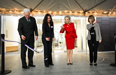 Chairman of the Board of Trustees A.G. Lafley '69, Museum Director Tracy Adler, Wendy Wellin and President Joan Hinde Stewart cut the ribbon at the Wellin dedication. (PHOTO BY NANCY L. FORD)