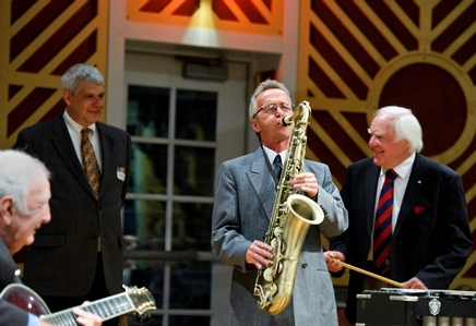 Monk Rowe on sax during a jazz concert led by Pianist Dick Hyman H'02  (PHOTO BY MEGAN P. HAMAN)