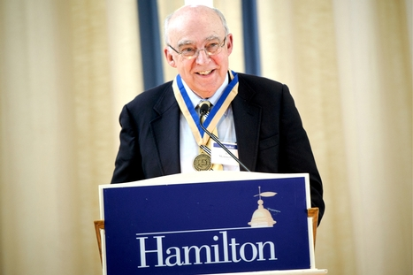 Jim Memmott &apos;64 presents the Half-Century Class Annalist Letter during the Annual Meeting of the Alumni Association.<br />Photo: Nancy L. Ford
