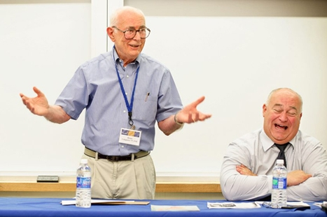 "Bruno Colapietro '57, left, tells an amusing story about his life at Hamilton during the discussion ""Hamilton Athletics, Then and Now."""