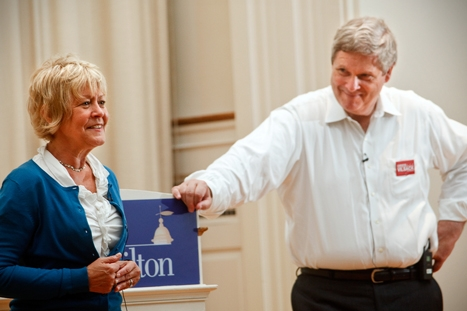 U.S. Secretary of Agriculture Tom Vilsack '72, P'00 and Christie Bell Vilsack K'72, P'00, a 2012 candidate for U.S. representative for Iowa's 4th congressional district, shared insights from their lives in public office during a talk in the Chapel.