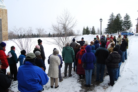 Terry Hawkridge, director of the arboreum, leads a dormant tree identification tour on Sat., Feb. 2, 2013.