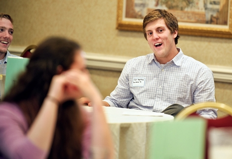 Taylor Hogenkamp '13 asks a question during Sophomore JumpStart.