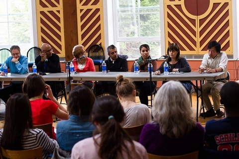 "Members of the ""What Does it Mean to be American"" panel participate in a multicultural discussion of the American identity and culture."