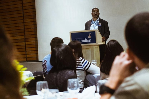 Associate Professor of Theatre addressed the audience during the Martin Luther King Jr. Day dinner.