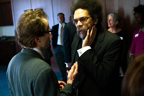Professor of English and Creative Writing Doran Larson with Dr. Cornel West