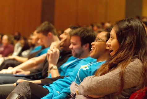 Students listen to Laverne Cox during the NY6 Spectrum Conference at Hamilton.