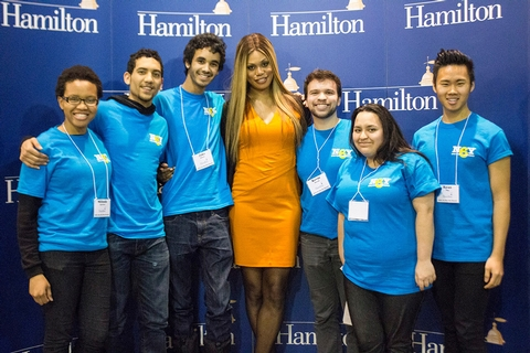 Laverne Cox poses with Hamilton students.