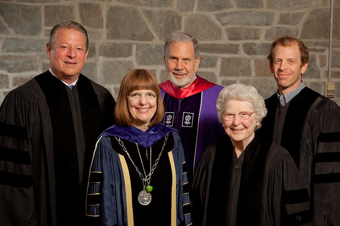 Patsy Couper and other 2011 Honorary Degree recipients with President Joan Hinde Stewart. PHOTO: VICKERS & BEECHLER