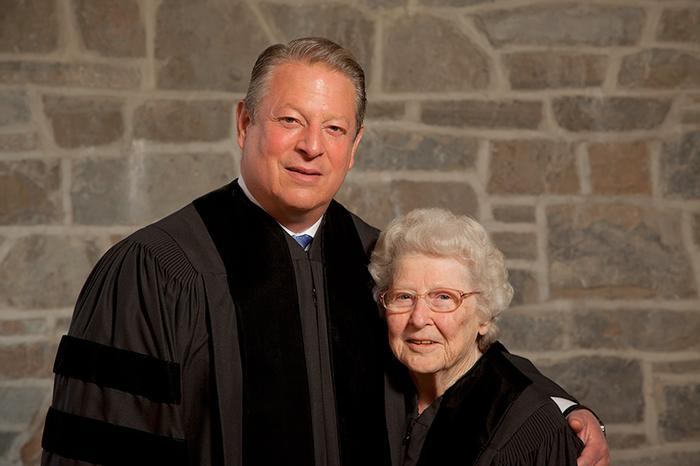 The Honorable Al Gore with Patsy Couper at the 2011 Commencement. PHOTO: VICKERS & BEECHLER