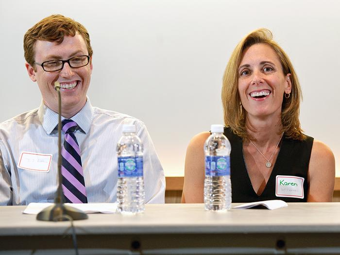 JJ liebow '13, Karen McDonnell '91, and Dr. Michael Kelberman '80 share a laugh during the panel discussion.