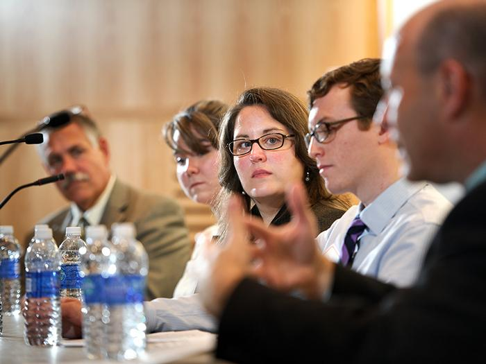 Panelists listen to Dr. Michael Kelberman '80