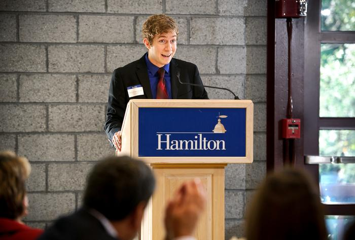 Will Robertson' 14 speaks at Friday's annual Comstock Lunch. PHOTO: BY NANCY L. FORD