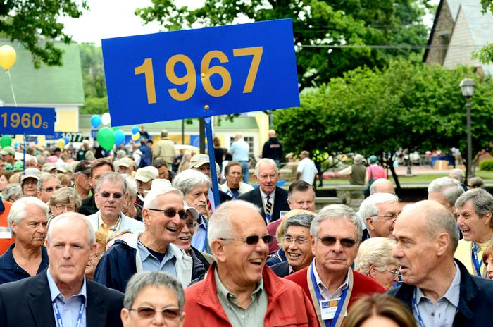 Class of 1967 alumni march in the parade. PHOTO: BY MEGAN BARTON