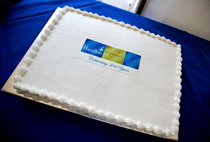 Bicentennial birthday cake commemorating the May 26, 1812 signing of the College Charter.<br />Nancy L. Ford