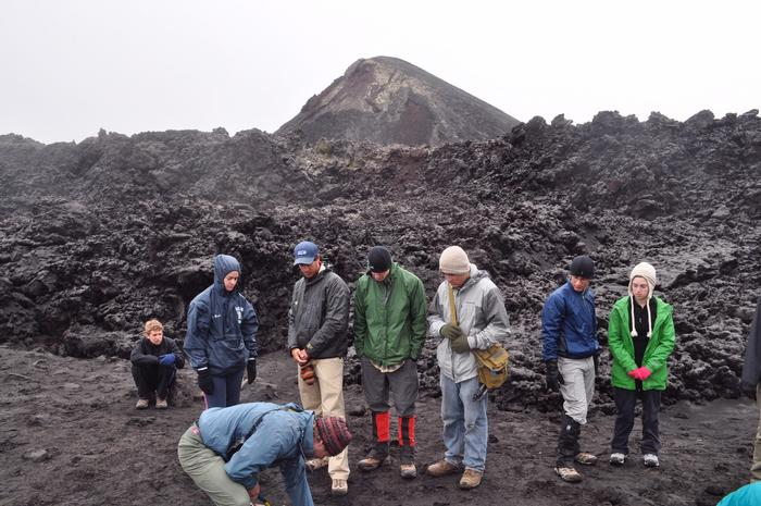 The group at the site of the 2010 eruption in Fimmvörðuháls.