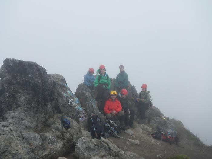 Summit of Imbabura, from left Hanna Kingston, Lindsey Luker, Andrew Jillings, Clair Stover (seated), Alex Doig, Annie Emanuels.