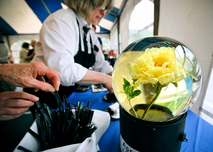An Age of Gold Peony sits in a water globe as cake is served during the celebration.<br />Photo: Nancy L. Ford
