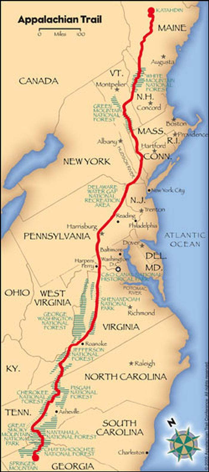 A map showing the Appalachian Trail.