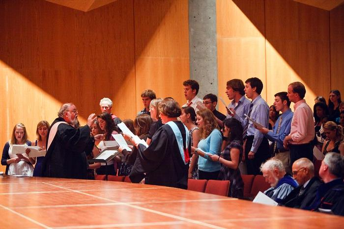 Members of the Hamilton College Choir sing at Convocation. PHOTO: BY LAURA LAUREY