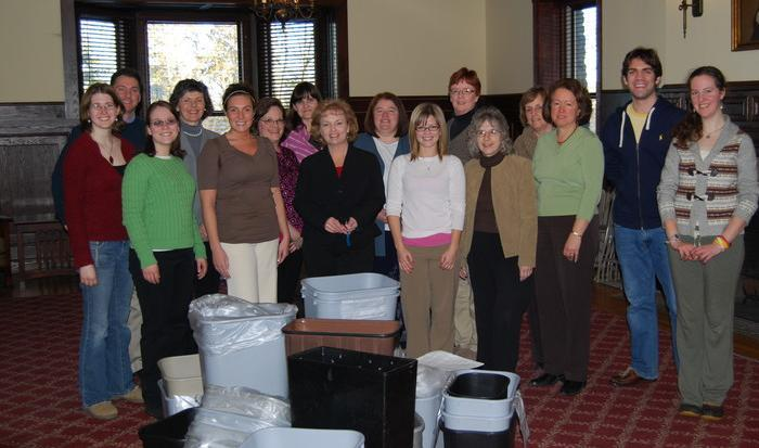 Recycling Task Force members worked with Spencer House employees to