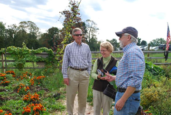 Professor of Biology David Gapp gave alumni a tour of the 1812 heritage garden