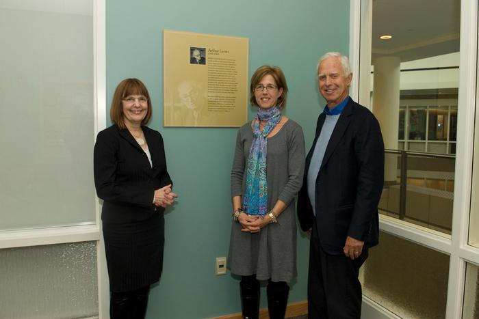President Stewart, Lauri Levitt Friedland '81 and Arthur Levitt  Jr. P'81 posed in the Arthur Levitt Public Affairs Center in the newly renovated Kirner-Johnson building