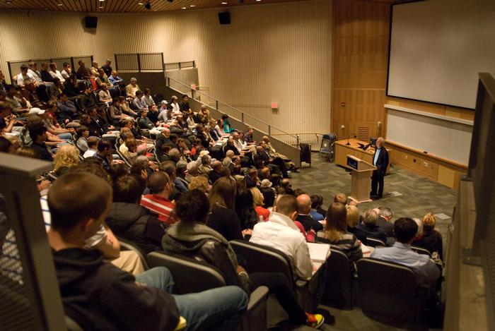 Former SEC Chair Arthur Levitt  Jr. P'81 addressed a  packed crowd in the Kirkner-Johnson auditorium