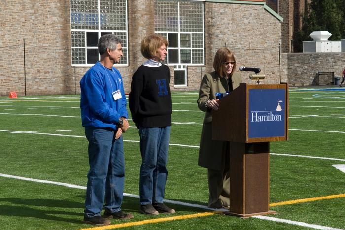 President Stewart recognized Hamilton football parents Jerry '71 and Marie Pitarresi P '08, ' 10 with a College Key Award for their years of loyal support of Hamilton football