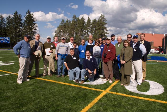 Donors to the new turf Steuben Field were recognized during halftime