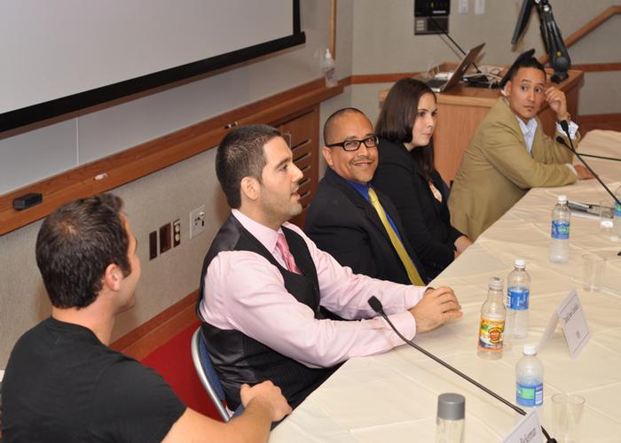 'Celebrating Difference: Success When There is Less,' a panel organized by Vladimir Rodriguez '06 (far right) included (left to right) Jordan Beckerman '06, Daniel José Custódio '00, Daniel Garcia '84, Emily Kerr '05 and Ketura Brown '04 (not pictured)