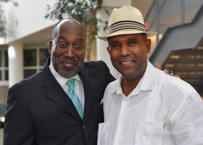 Edwin Scott '76 and Larry Arias '84 during Fallcoming
