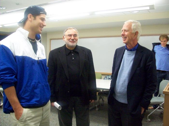 Arthur Levitt, right, chats with John Lawrence '10 and Professor Erol Balkan after Balkan's class.  PHOTO: BY PAULINE CAPUTI
