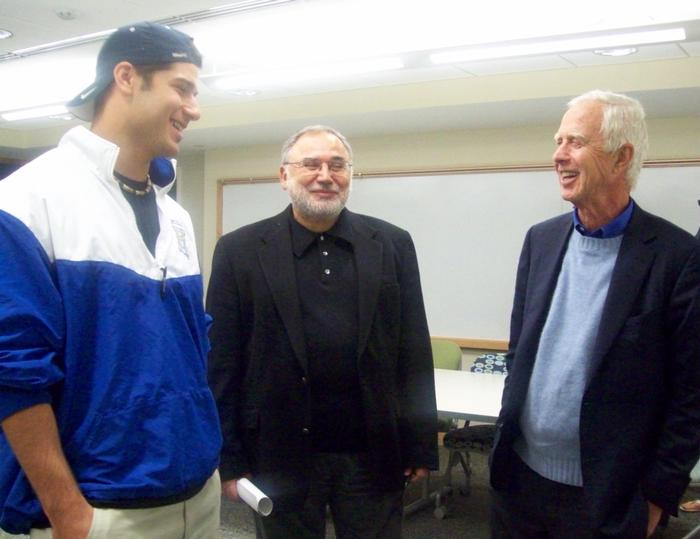 John Lawrence '10, Economics Professor Erol Balkan and Former SEC Chair Arthur Levitt  Jr. P'81 during Levitt's visit to an economics class