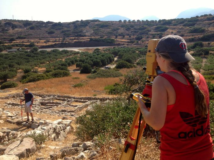Mackenzie Leavenworth '15, right, on site in Gournia, Greece.