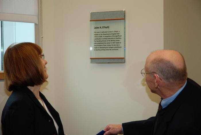 Dedication of the John O'Neill Conference Room in the Nesbitt-Johnston Writing Center, Kirner-Johnson building