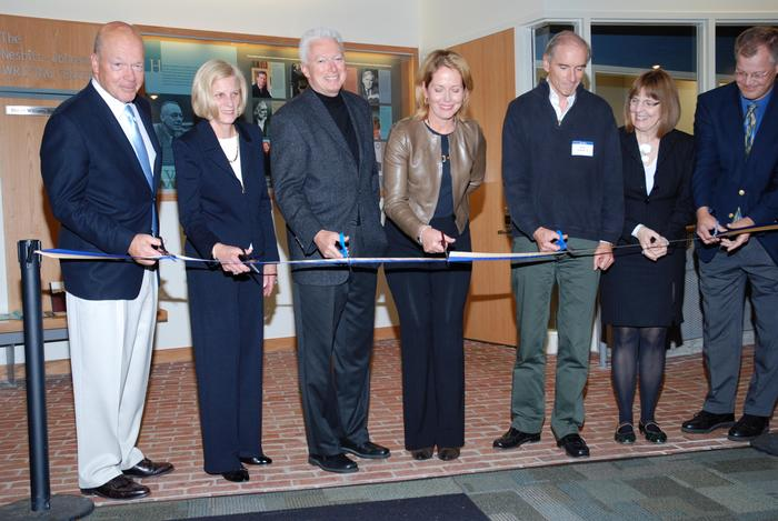 Ribbon-cutting ceremony for the newly renovated Kirner-Johnson building. (left to right) Steve and Mary Ann Phillips P'07, A.G. Lafley '69, Susan Skerritt K'77, Henry Bedford '76, President Stewart and Economics Professor Paul Hagstrom