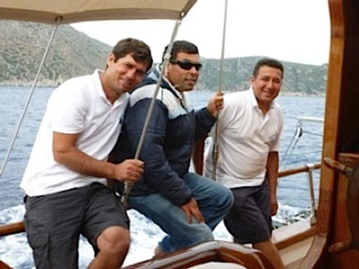 The crew of our gulet, the Captain Sevket